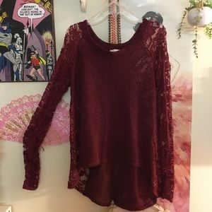 Red sweater with lace sleeves and sides size L